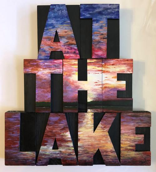 Wood Block Art - At The Lake