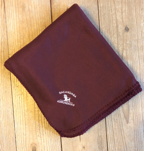 Microfleece Embroidered Blanket - Burgundy