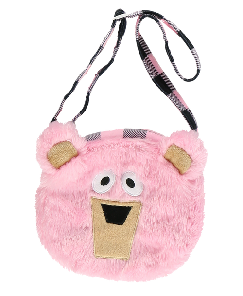 Fuzzy Pink Girls Bear Purse