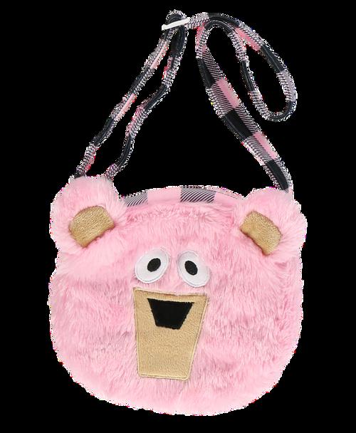 Fuzzy Pink Girls Bear Purse