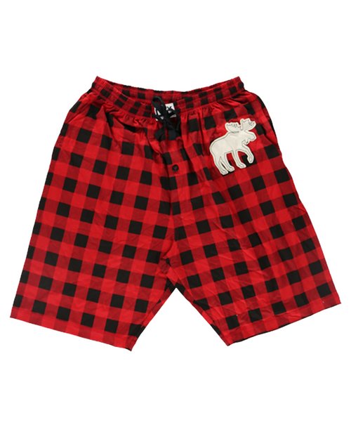 Men's Moose Plaid Pajama Shorts