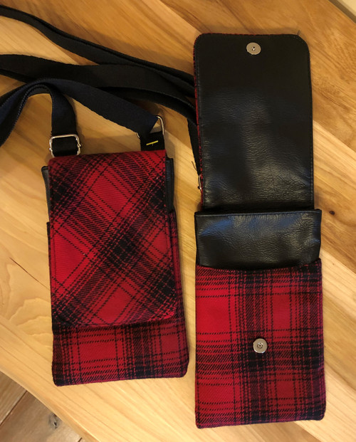 Red and Black Plaid Cell Phone Bag   SALE