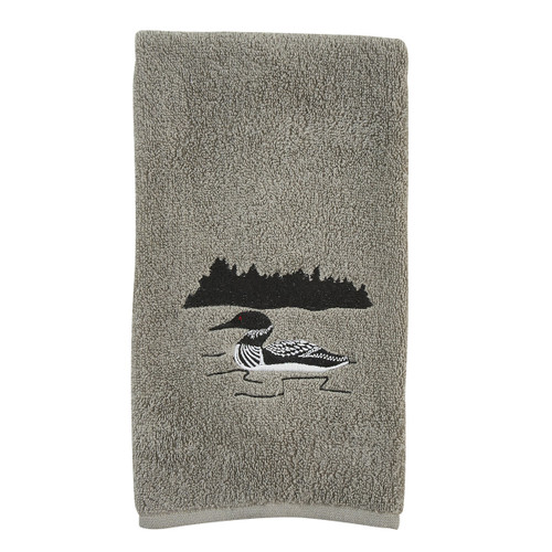Loon Embroidered Fingertip Towel