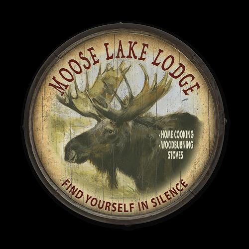Moose Lake Lodge Barrel End Sign
