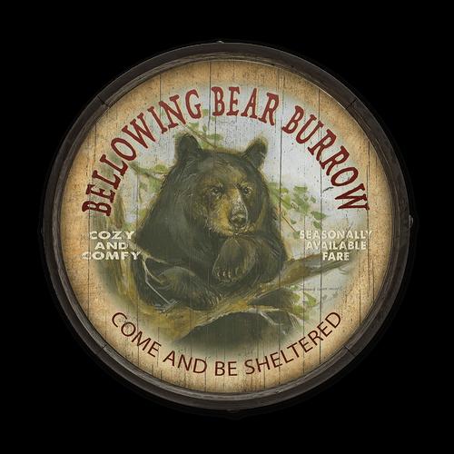 Bellowing Bear Burrow Barrel End Sign