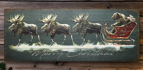 Merry Christmas Moose and Bear Sign