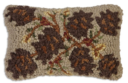 Northwoods Cones Hooked Wool Pillow