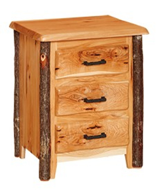 Hickory  and Oak 3 Drawer Nightstand