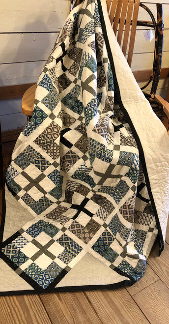 Blue and Gray Patchwork Lap Quilt