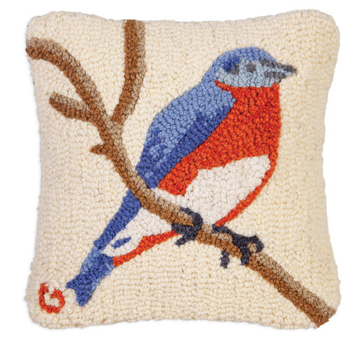 Bluebird Hooked Wool PIllow