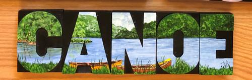 Wood Block Art - Canoe