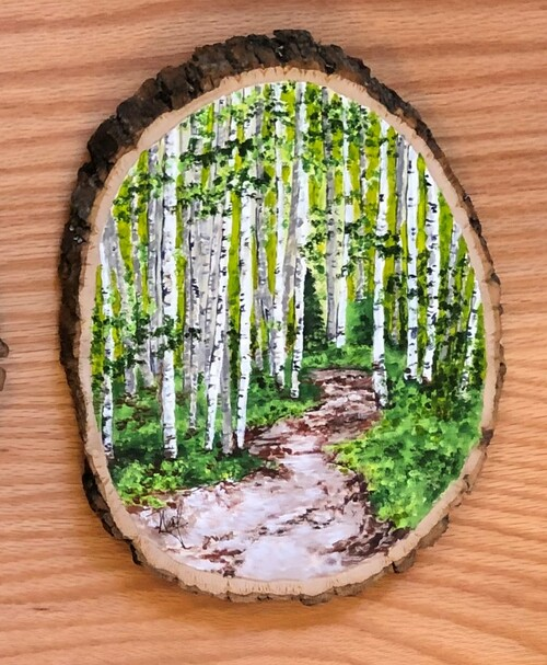 Birch Trees Painted on Wood