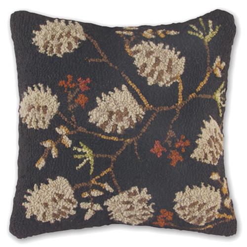 Dark Pine Cone Wool Pillow