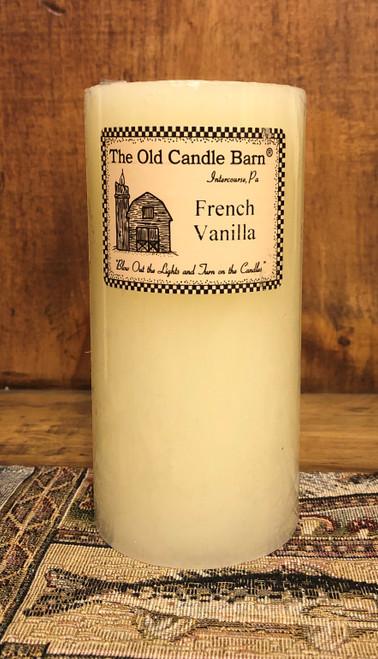 "French Vanilla Pillar Candle 6"""