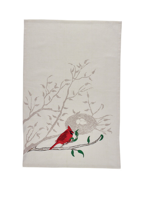 Cardinal Embroidered Dish Towel
