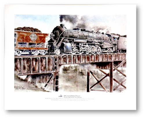 """Duluth Missabe & Iron Range #506 pushes hard helping move a long, loaded train from the mine to the ore dock"" Print by Steve Krueger"