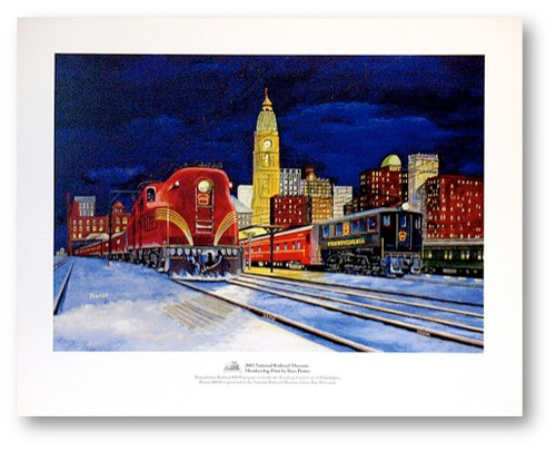 """""""Pennsylvania Railroad #4890 prepares to hustle the 'Broadway Limited' out of Philadelphia"""" Print  by Russ Porter"""