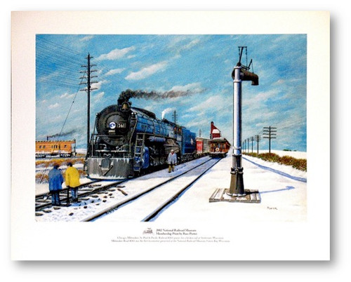 """Chicago, Milwaukee, St. Paul & Pacific Railroad #261 pauses for a broken rail at Sturtevant, Wisconsin"" Print by Russ Porter"