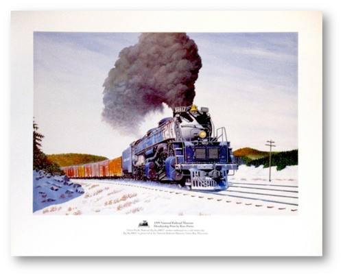 "National Railroad Museum® - ""Union Pacific Railroad 'Big Boy' #4017 smokes eastbound on a cold winter day."" Print by Russ Porter"