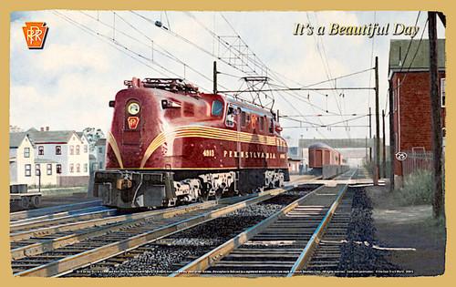 "Pennsylvania Railroad (PRR) ""It's a Beautiful Day"" Wooden Railroad Art Plaque"