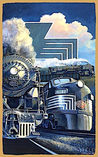 "New York Central System ""Lightning Strikes"" Wooden Railroad Art Plaque"