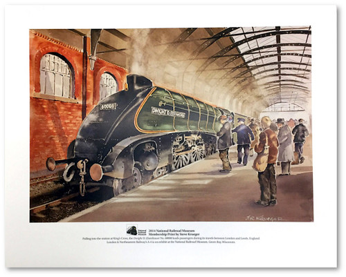Dwight D. Eisenhower Locomotive Pulls Into The Station at King's Cross Print by Steve Krueger