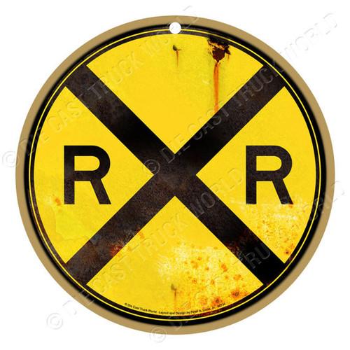 Rusty Railroad Crossing (RXR) Wooden Plaque