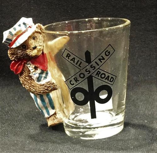 Shot Glass - Railroad Crossing & Engineer Bear