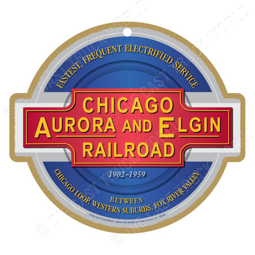 Chicago, Aurora, and Elgin Railroad Wooden Plaque