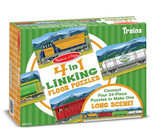 Melissa & Doug® 4-in-1 Linking Floor Puzzles - Trains