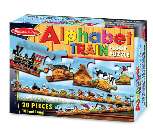 Melissa & Doug® Alphabet Train Jumbo Jigsaw Floor Puzzle - Letters and Animals (28 pieces, 10 feet long)