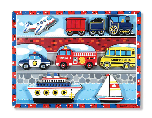 Melissa & Doug® Vehicles Wooden Chunky Puzzle - Plane, Train, Cars, and Boats (9 pieces)