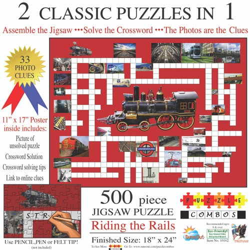 2 Classic Puzzles in 1: Riding the Rails 500-Piece Puzzle by SunsOut
