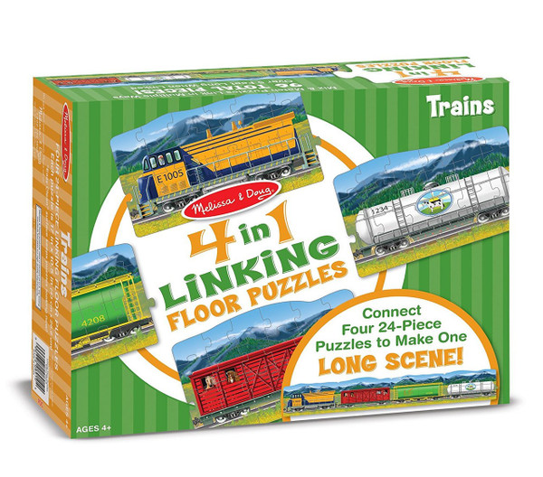 Melissa & Doug® 4-in-1 Linking Floor Puzzles - Trains