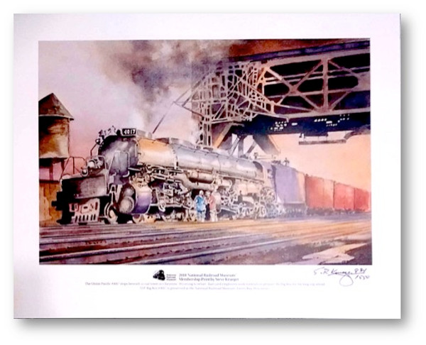 """National Railroad Museum® - """"Union Pacific 'Big Boy' #4017 stops beneath a coal tower in Cheyenne, Wyoming to refuel."""" Print by Steve Krueger"""