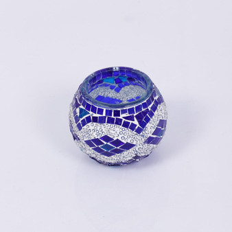 KAFTHAN Blue and White Quad Mosaic Candle Holders