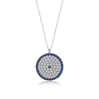 KAFTHAN Evil Eye Pendant Sterling Silver Evil Eye Round Necklace and Jewelry