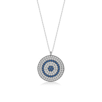 KAFTHAN Sterling Silver Round Evil Eye Pendant Double Lined Necklace