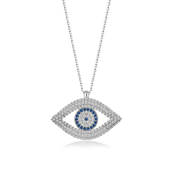 KAFTHAN Evil Eye Pendant Sterling Silver Evil Eye Classical Necklace and Jewelry