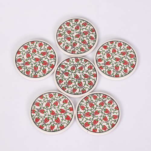 Turkish Mandala Red and Green Detailed Tulips Ceramic Coasters - Set of 6
