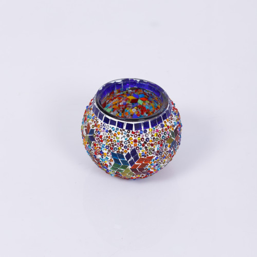 KAFTHAN Multicolor Star Mosaic Glass Candle Holders