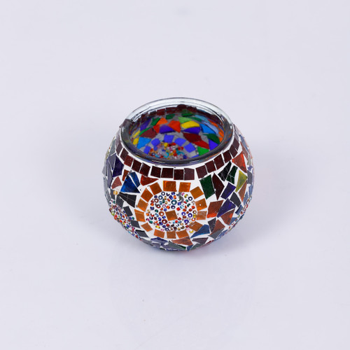 KAFTHAN Multicolor Circle Mosaic Glass Candle Holders