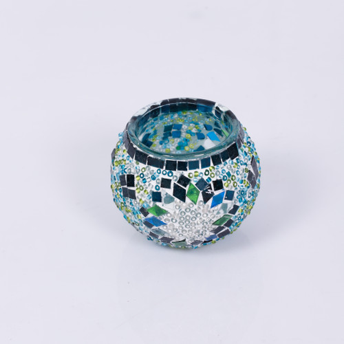 KAFTHAN Turquaz and White Star Mosaic Glass Candle Holders