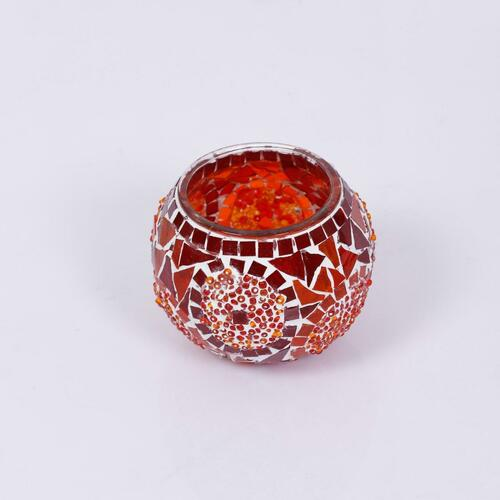 KAFTHAN Red Circle Mosaic Glass Candle Holders