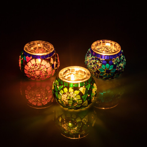 Blue Green Multicolor Mosaic Candleholder Set (Set of 3)