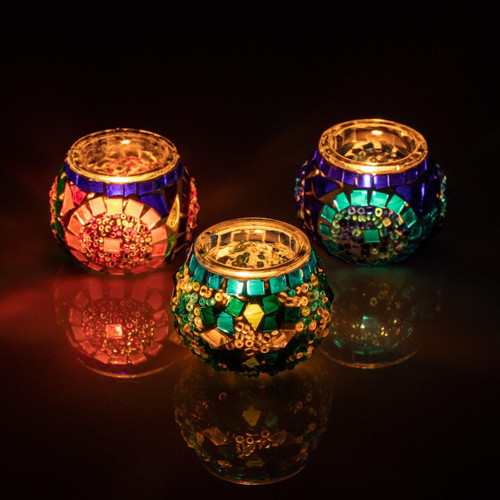 KAFTHAN Blue Turquoise Multicolor Mosaic Candleholder Set Set of 3