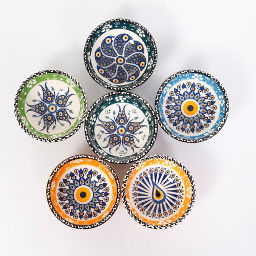 KAFTHAN Turkish Designs Evil Eye Multicolor Ceramic Bowls Coasters | Set of 6