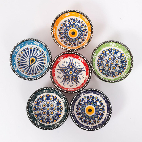 KAFTHAN Turkish Designs Evil Eye Ceramic Bowls Coasters - Set of 6