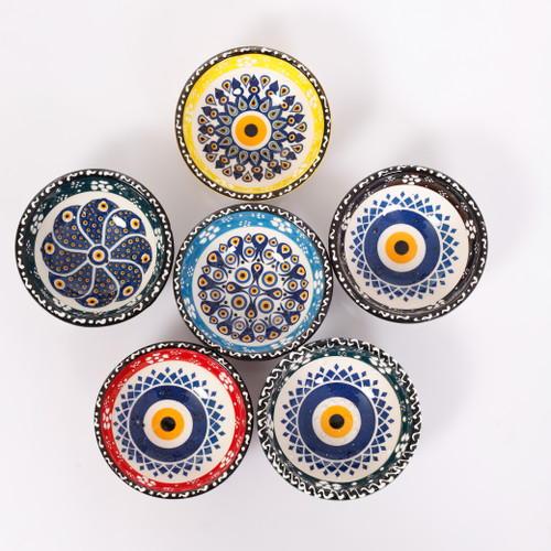 Evil eye ceramic dessert, tapas, snack bowls 005 - Set of 6