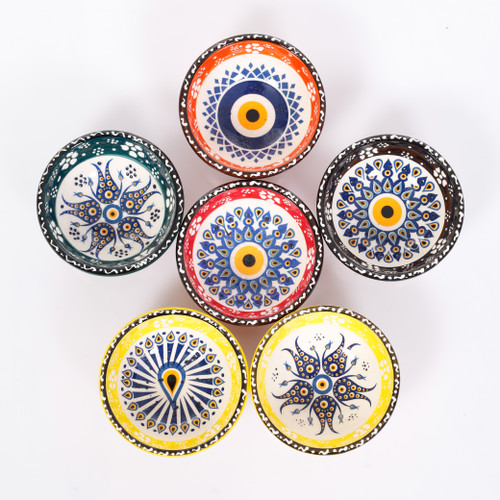 Evil eye ceramic dessert, tapas, snack bowls 006 - Set of 6